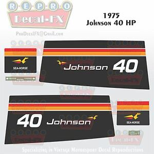 1976 Johnson 6 HP Sea Horse Outboard Reproduction 9 Pc Marine Vinyl Decals