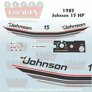 1980 Johnson 9.9 HP Outboard Reproduction 16 Piece Marine Vinyl Decal Sea-Horse
