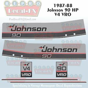 1980 Johnson 140HP V4 Sea-Horse Outboard Reproduction 14 Pc Marine Vinyl Decals