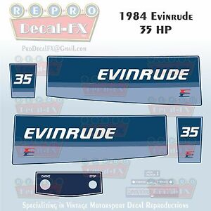 1981 Evinrude 35HP Electric Outboard Reproduction 9Pc Vinyl Decals Thirty Five