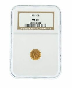 Click now to see the BUY IT NOW Price! 1851 G$1 NGC MS 65 ONE DOLLAR LIBERTY HEAD GOLD COIN