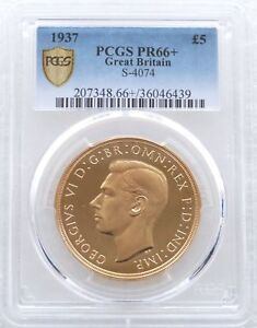 Click now to see the BUY IT NOW Price! 1937 GEORGE VI CORONATION 5 FIVE POUND SOVEREIGN GOLD PROOF COIN PCGS PR66