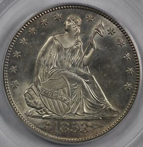 Click now to see the BUY IT NOW Price! 1853 50C ARROWS AND RAYS SEATED LIBERTY HALF DOLLAR PCGS MS 62
