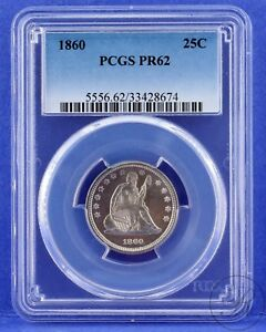 Click now to see the BUY IT NOW Price! 1860 25C LIBERTY SEATED QUARTER PCGS PR 62