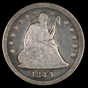 1844 LIBERTY SEATED SILVER QUARTER 25C CIRCULATED