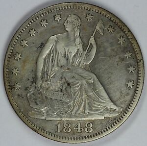 1848 50C SEATED LIBERTY HALF DOLLAR UNSLABBED