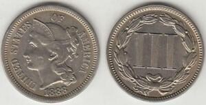 REDUCED AGAIN  BETTER DATE 1888 3 CENT NICKEL CHOICE AU
