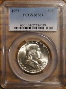 1952 FRANKLIN HALF DOLLAR PCGS GRADED MS 64 WITH LOTS OF LUSTER 6661.64/27534029
