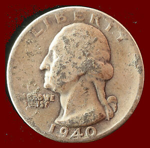 1940 P WASHINGTON 90  SILVER QUARTER SHIPS FREE. BUY 5 FOR $2 OFF