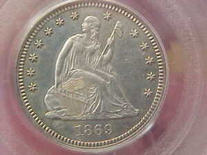 1869 SEATED LIBERTY QUARTER PCGS PR62 PROOF 62 FULLY STRUCK  DATE