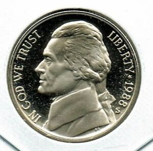 1988 S UNCIRCULATED PROOF STRIKE JEFFERSON NICKEL FIVE CENT COIN