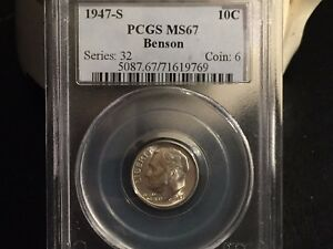 1947 S SILVER ROOSEVELT DIME PCGS MS67    GORGEOUS    MAKE AN OFFER
