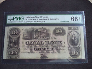 1850S $10 OBSOLETE NOTE PMG CERTIFIED MINT 66  REMAINDER  BSBC