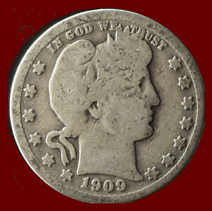 1909 P BARBER 90  SILVER QUARTER SHIPS FREE. BUY 5 FOR $2 OFF