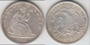 JUST REDUCED   BETTER DATE 1869 S LIBERTY SEATED  HALF DOLLAR XF DETAILS