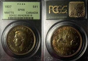 Click now to see the BUY IT NOW Price! CANADA 1937 DOLLAR  FULL RIMS GEM SPECIMEN STRIKE MATTE PCGS 66 PQ