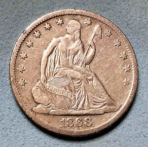 1868 S SEATED HALF DOLLAR SHARP NICE