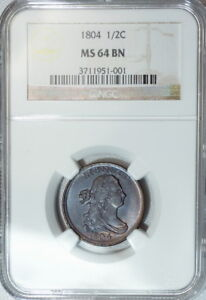 1804 NGC MS64 DRAPED BUST HALF CENT LUSTROUSLY ORIGINAL &  EYE APPEAL