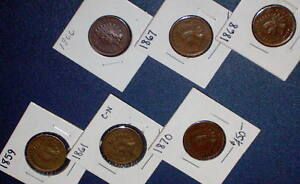 6 HIGHER AU GRADE 1859 1861 1866 1867 1868 1870 INDIAN HEAD CENT PENNY 1C