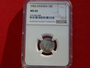 Click now to see the BUY IT NOW Price! 1952 CANADA SILVER TEN CENTS NGC MS66 DOUBLE 19 TOP POP