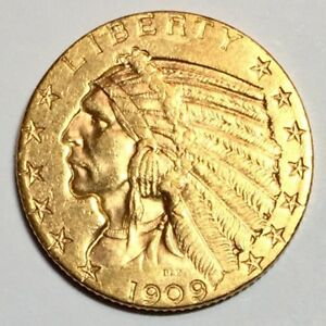 1909 D $5 INDIAN GOLD PIECE HALF EAGLE BU UNC. CHOICE EXAMPLE PRICED TO SELL