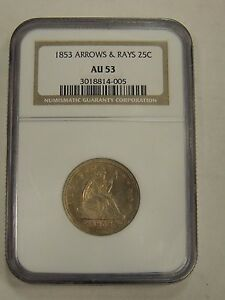 1853 25C ARROWS AND RAYS LIBERTY SEATED QUARTER NGC AU53