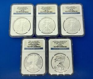 2011 AMERICAN SILVER EAGLE 25TH ANNIVERSARY 5 PIECE SET NGC PF/MS70 ER