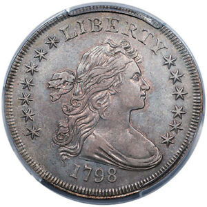 Click now to see the BUY IT NOW Price! 1798 $1 SMALL EAGLE 13 S B 1 BB 82 R.3 PCGS AU55