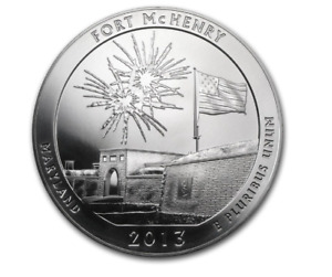 2013 5 OZ SILVER ATB FORT MCHENRY NATIONAL PARK MD