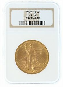 1909 NGC MS62 $20 SAINT GAUDENS DOUBLE EAGLE OLD NGC HOLDER AND GRADING