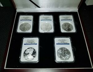 2011 AMERICAN SILVER EAGLE 25TH ANNIVERSARY SET EARLY RELEASES MS70 & PF70 LOOK