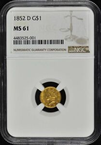 Click now to see the BUY IT NOW Price! 1852 D GOLD DOLLAR   TYPE 1 G$1 NGC MS61