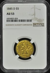 Click now to see the BUY IT NOW Price! 1845 D HALF EAGLE   NO MOTTO $5 NGC AU53