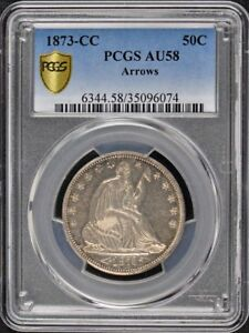 Click now to see the BUY IT NOW Price! 1873 CC 50C ARROWS LIBERTY SEATED HALF DOLLAR PCGS AU58