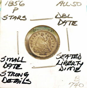 Click now to see the BUY IT NOW Price! 1856 P SEATED LIBERTY HALF DIME AU STARS SMALL DBL DATE STRONG DETAILS B740