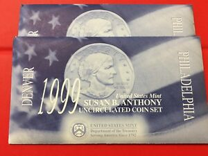 1999 SUSAN B. ANTHONY UNCIRCULATED COIN SET: TWO SETS