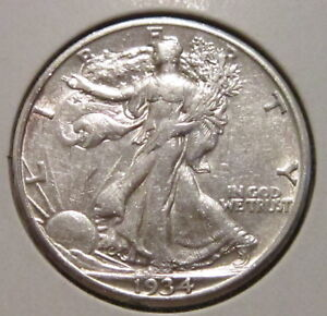 1934 S WALKING LIBERTY HALF DOLLAR  BETTER DATE SILVER COIN WITH GREAT DETAILS