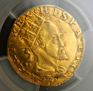 Click now to see the BUY IT NOW Price! 1589 MILAN  DUCHY  PHILIP II OF SPAIN. BEAUTIFUL GOLD DOPPIA COIN. PCGS AU
