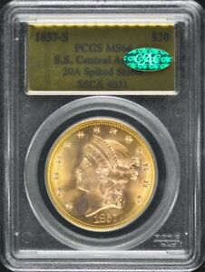 Click now to see the BUY IT NOW Price! 1857 S S.S. CENTRAL AMERICA $20 GOLD T 1 LIBERTY PCGS MS66 20A SPIKED SHIELD