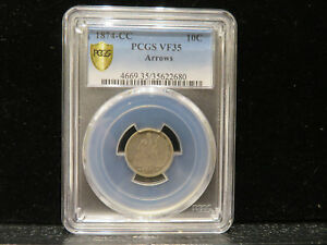 Click now to see the BUY IT NOW Price! 1874 CC SEATED DIME ARROWS 10C PCGS VF 35  VERY