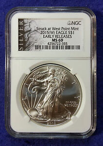 2015  W  AMERICAN SILVER EAGLE NGC MS69 EARLY RELEASES LIBERTY LABEL