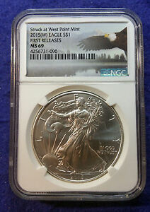 2015  W  AMERICAN SILVER EAGLE NGC MS69 FIRST RELEASES EAGLE LABEL