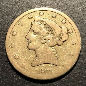 1861 $5 LIBERTY GOLD COIN EARLY NO MOTTO CIVIL WAR DATE HISTORIC POCKET PIECE A