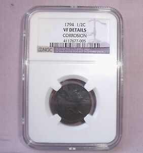 1794 U.S. LIBERTY CAPPED 1/2 HALF CENT  VF DETAILS IN NGC SLAB  CORROSION