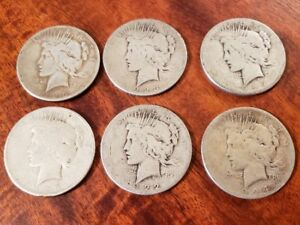 Click now to see the BUY IT NOW Price! LOT OF 6 PEACE DOLLAR SILVER COINS   CULL