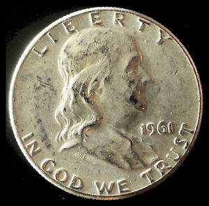 1961 P FRANKLIN 90  SILVER HALF DOLLAR SHIPS FREE. BUY 5 FOR $2 OFF