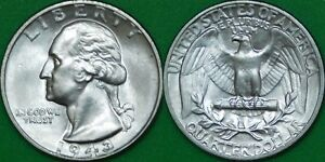 1943 US  P MINT  SILVER QUARTER GRADED AS BRILLIANT UNCIRCULATED