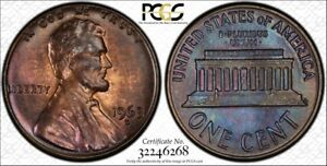 1963 D LINCOLN CENT   PCGS MS63BN   BLUE TONED WITH TRUEVIEW