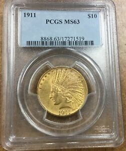 {BJSTAMPS} 1911 $10 GOLD  INDIAN PCGS MS63