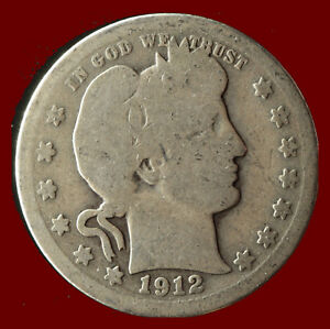 1912 P BARBER 90  SILVER QUARTER SHIPS FREE. BUY 5 FOR $2 OFF